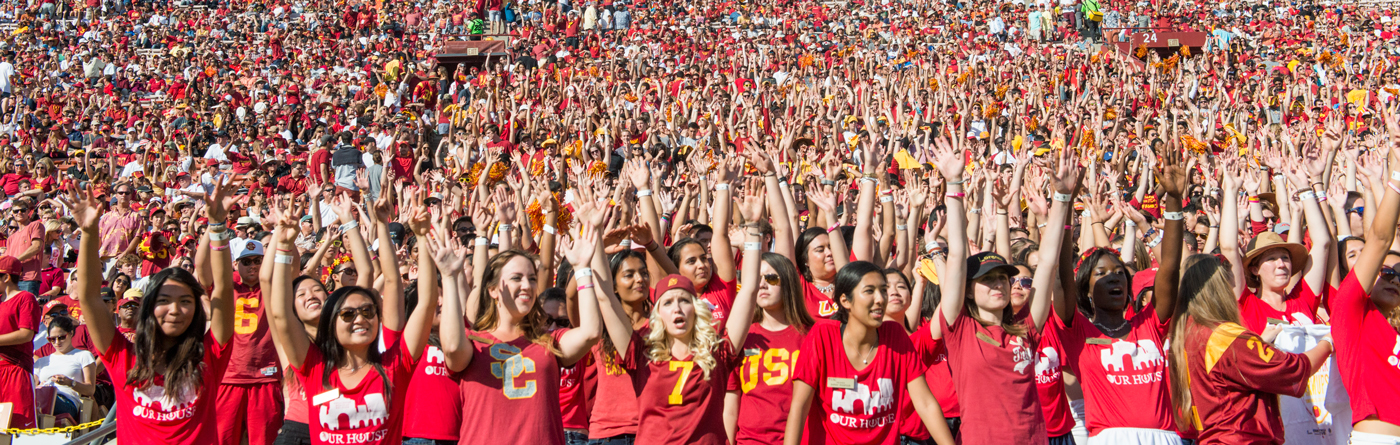 Crowd of USC fans at the Coliseum during a football game